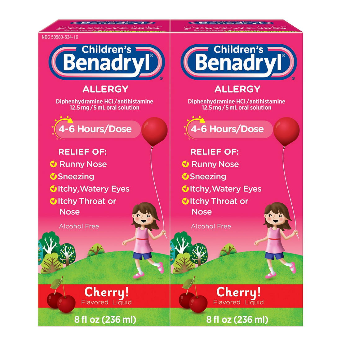 Children's Benadryl Antihistamine Allergy Relief Cherry Flavored Liquid, 2  pk /8 oz