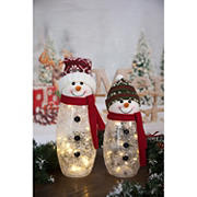 Berkley Jensen Glass Snowman with LED Lights, 2 pk.