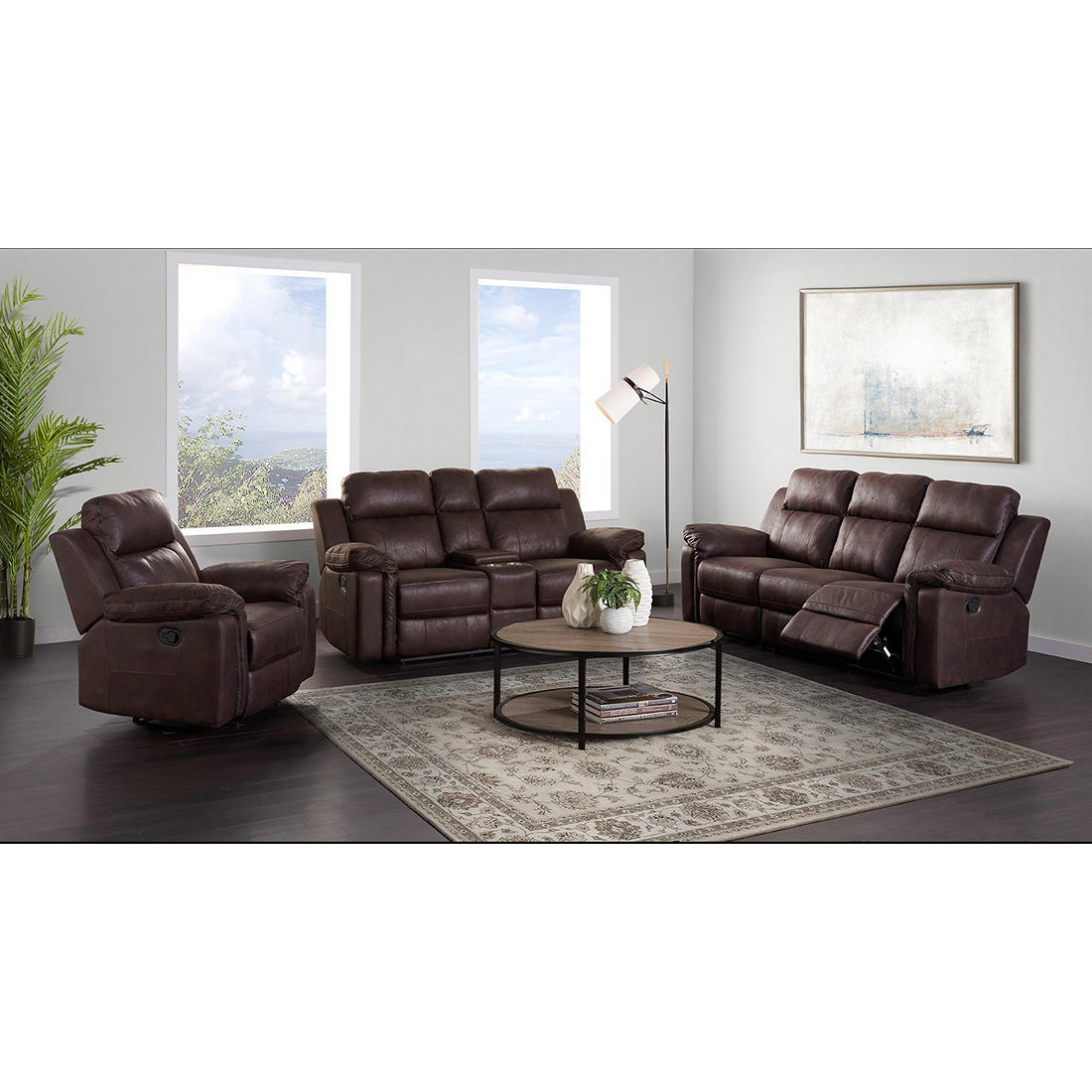 Terrific Jamestown 3 Pc Performance Fabric Reclining Sofa Set Chocolate Sierra Dailytribune Chair Design For Home Dailytribuneorg