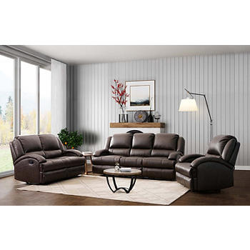 Abbyson Giorgio 3-Piece Top Grain Leather Reclining Sofa Set