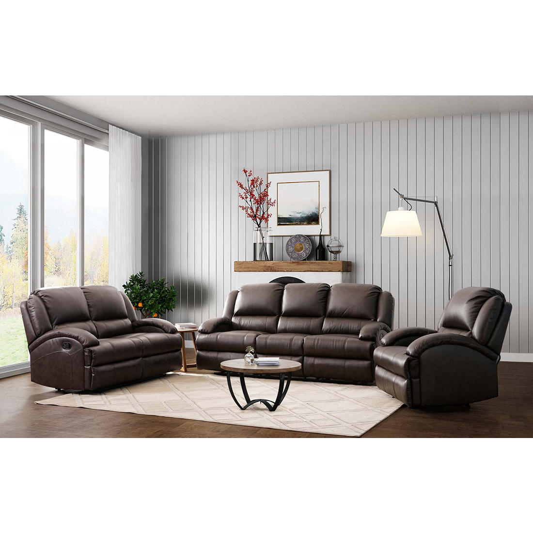 Abbyson Giorgio 3-Pc. Top Grain Leather Reclining Sofa Set