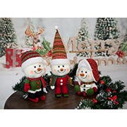 3-Pc. Plush Snowman Figure Set