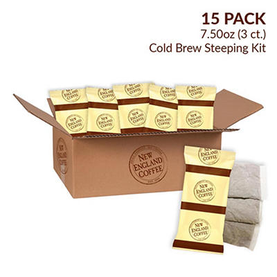 New England Coffee Cold Brew Steeping Kit, 15 pk./3 ct.