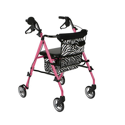 Medline Rollator -  Posh Pink Zebra