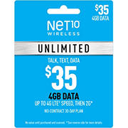 $35 Net10 Wireless Unlimited 30 Day Plan Wireless Gift Card