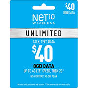$40 Net10 Wireless Unlimited 30 Day Plan Gift Card