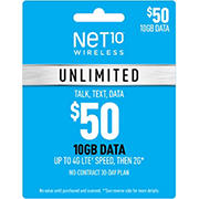 $50 Net10 Wireless Unlimited 30 Day Plan Gift Card