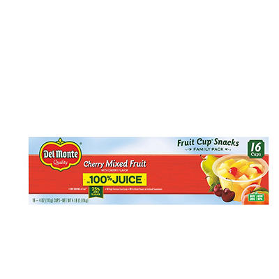Del Monte Cherry Mixed Fruit Cups, 16 pk./4 oz.