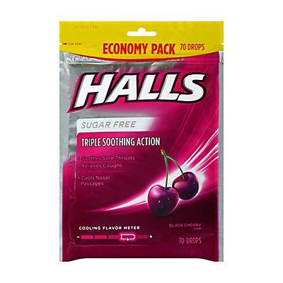 Halls Black Cherry Sugar-Free Cough Drops, 2 pk./70 ct.