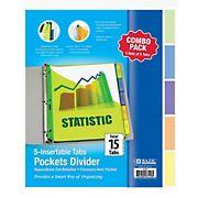 BAZIC Products 5-Tab Binder Pocket Dividers, 3 pk.
