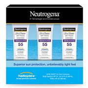 Neutrogena Ultra Sheer Dry-Touch Water Resistant SPF 55 Sunscreen Lotion, 3 pk./3 oz.