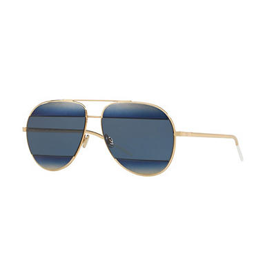 Dior Split 1 Sunglasses With Gold Frame and Blue Lenses