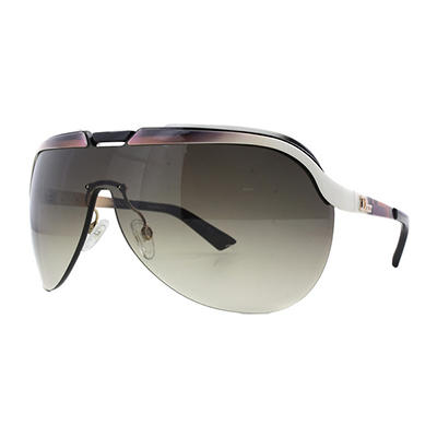 Dior Solar Sunglasses with White and Brown Frame and Brown Gradient Lenses