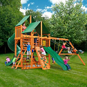Gorilla Playsets Bradford Wooden Cedar Swing Set with Green Vinyl Canopy