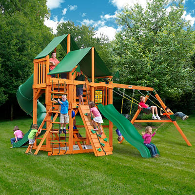 Gorilla Playsets Bradford Wooden Cedar Swing Set with Green Vinyl Cano