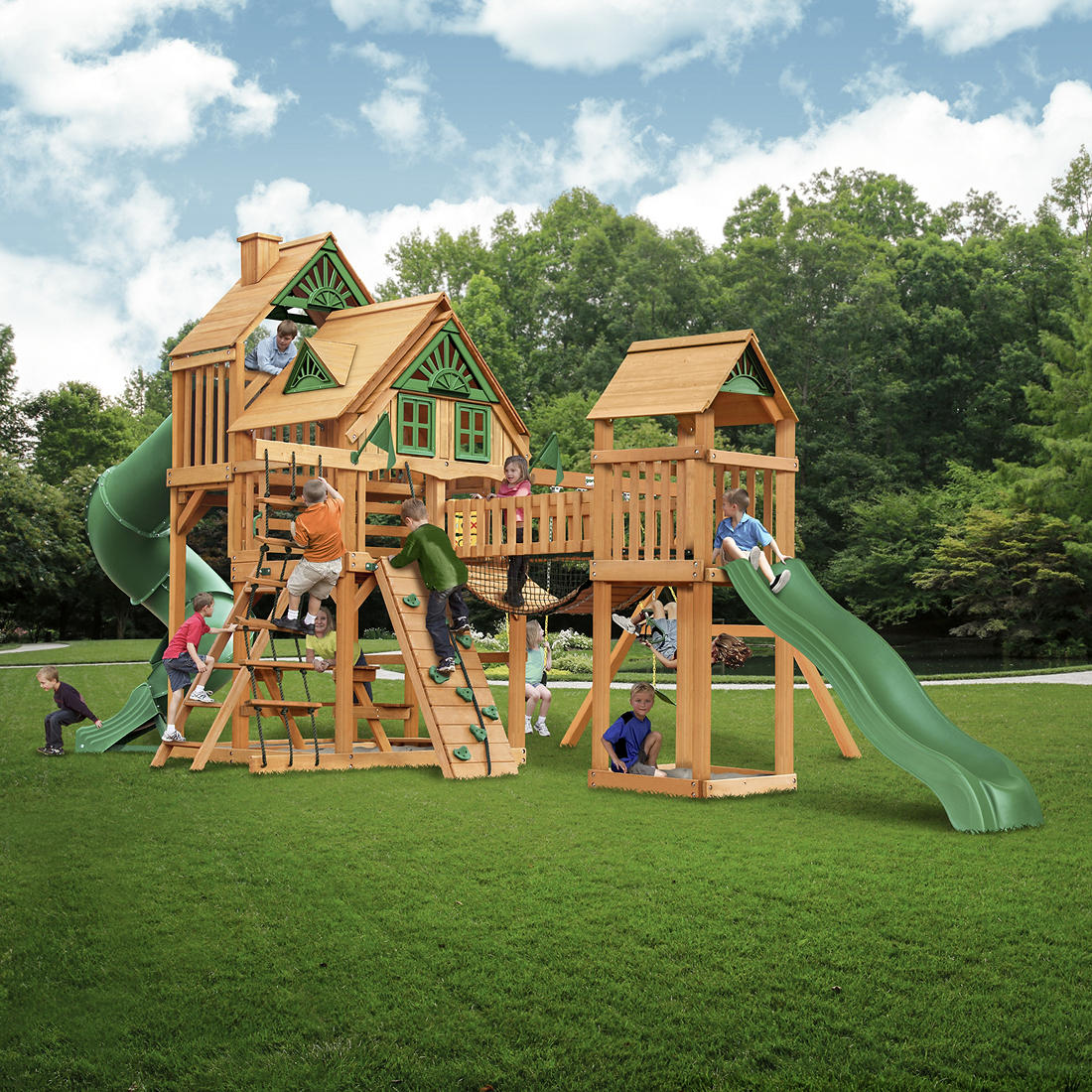 Strange Gorilla Playsets Parkview Wooden Cedar Treehouse Swing Set Download Free Architecture Designs Scobabritishbridgeorg