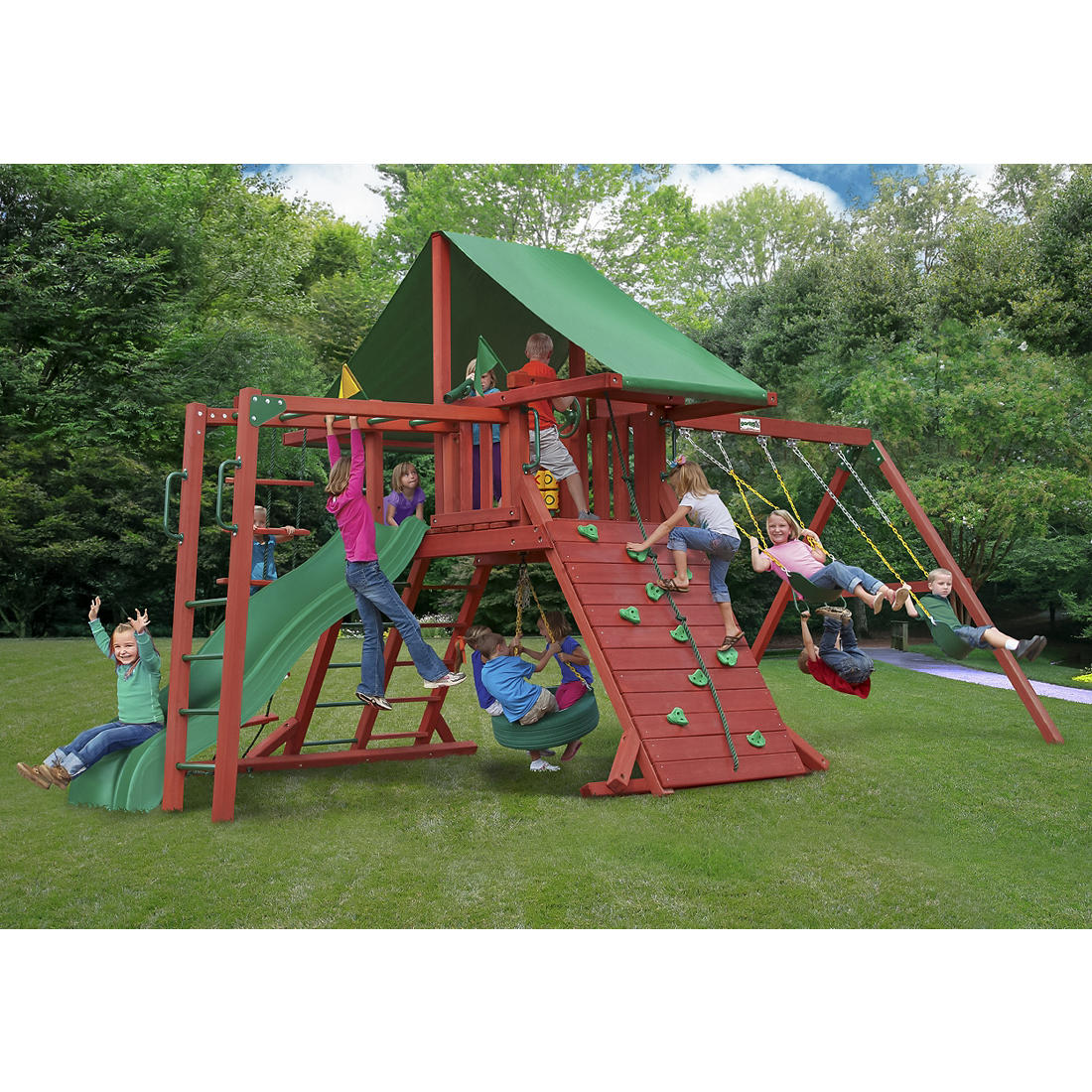 Gorilla Playsets Rockwood Wooden Cedar Swing Set With Deluxe Green Vinyl Canopy