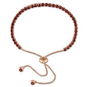 3.78 ct. TGW Garnet Adjustable Bracelet in Rose Rhodium-Plated Sterling Silver