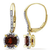 2 ct. TGW Garnet and 1/10 ct. t.w. Diamond Halo Leverback Earrings in 10k Yellow Gold