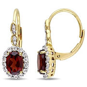 2 3/4 ct. TGW Oval Shape Garnet, White Topaz, and Diamond Accent Vintage Leverback Earrings in 14k Yellow Gold