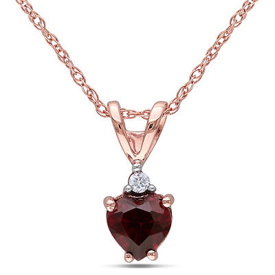 .50 ct. TGW Garnet and Diamond Accent Heart Pendant in 10k Pink Gold