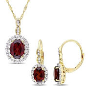 4 3/4 ct. TGW Garnet, White Topaz, and Diamond Accent Vintage Leverback Earrings & Pendant 2-Pc. Set in 14k Yellow Gold