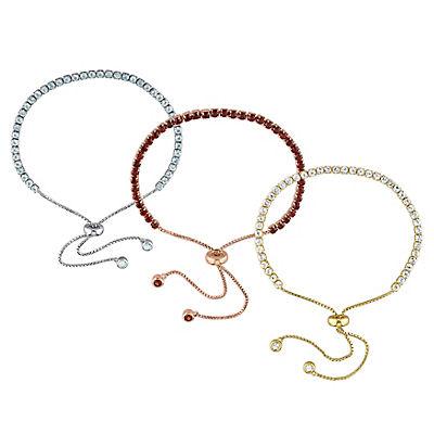 11.33 ct. TGW Blue Topaz, White Topaz and Garnet 3-Pc. Bolo Bracelet Set in Sterling Silver