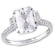 4 ct. TGW Asscher Cut White Topaz and 1/10 ct. TW Diamond Halo Engagement Ring in Sterling Silver, Size 6