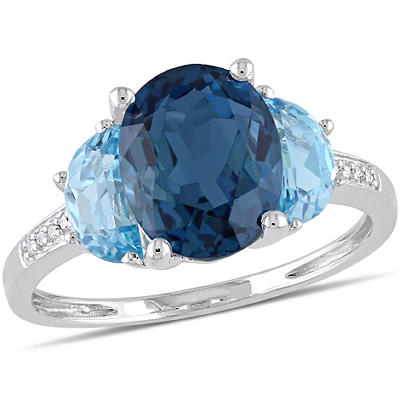 4 1/2 ct. TGW London and Sky Blue Topaz and Diamond 3-Stone Ring in Sterling Silver, Size 7