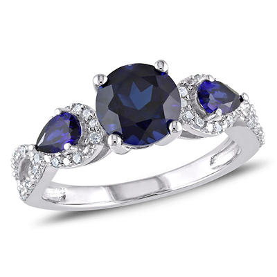 2 1/3 ct. TGW Created Blue Sapphire and 1/6 ct. t.w. 3-Stone Ring in S