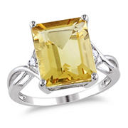 6 5/8 ct. TGW Emerald Cut Citrine and White Topaz Ring in Sterling Silver, Size 9