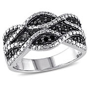 1/4 ct. t.w. Black Diamond Double t.w.ist Ring in Sterling Silver with Black Rhodium, Size 6