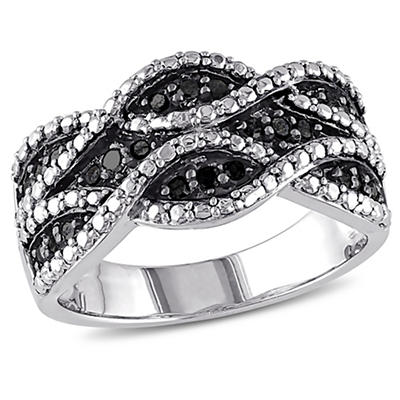 1/4 ct. t.w. Black Diamond Double t.w.ist Ring in Sterling Silver with