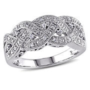 1/8 ct. t.w. Braided Diamond Ring  in Sterling Silver, Size 6
