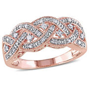 1/8 ct. t.w. Diamond Braided Ring in Pink Plated Sterling Silver, Size 5