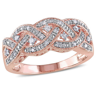 1/8 ct. t.w. Diamond Braided Ring in Pink Plated Sterling Silver, Size