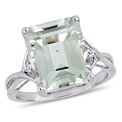 5 5/8 ct. TGW Emerald Cut Green Amethyst and White Topaz Twist Ring in Sterling Silver, Size 6