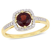 1 ct. TGW Garnet and 1/7 ct. TW Diamond Halo Ring in 10k Yellow Gold, Size 8