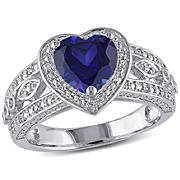 2 1/4 ct. TGW Created Blue Sapphire and 1/10 ct. t.w. Diamond Vintage Heart Ring in Sterling Silver, Size 7