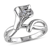 Diamond Calla Lily Ring in Sterling Silver, Size 5