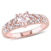 1/2 ct. TGW Morganite and Diamond Accent Vintage Heart Ring in Rose Plated Sterling Silver, Size 5