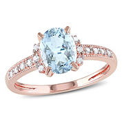 1 ct. TGW Oval Cut Aquamarine and Diamond Ring in Rose Plated Sterling Silver, Size 5