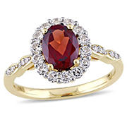 2 ct. TGW Oval Shape Garnet, White Topaz, and Diamond Accent Vintage Ring in 14k Yellow Gold, Size 7
