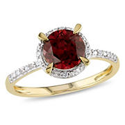 1 5/8 ct. TGW Garnet Halo Ring with Diamonds in 10k Yellow Gold, Size 7