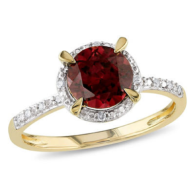 1 5/8 ct. TGW Garnet Halo Ring with Diamonds in 10k Yellow Gold, Size
