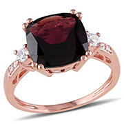 4 1/6 ct. TGW Cushion Cut Garnet and Created White Sapphire Ring with Diamonds in 10k Rose Gold, Size 8