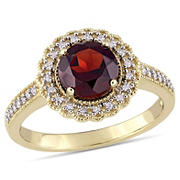 1/8 ct. t.w. Diamond and Garnet Halo Ring in Yellow Plated Sterling Silver, Size 9
