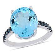 10 1/5 ct. TGW Oval-Cut London Blue Topaz & Sky Blue Topaz Ring in Sterling Silver, Size 6