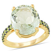 8 ct. TGW Green Amethyst Peridot Cocktail Ring in Yellow Sterling Silver with Black Rhodium, Size 6