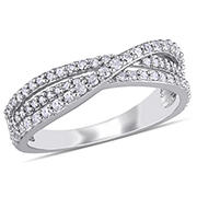 1/2 ct. t.w. Diamond Crossover Ring in Sterling Silver, Size 6